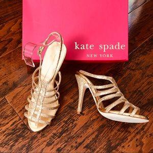 Kate Spade Dressy Gold Heels Worn ONCE!